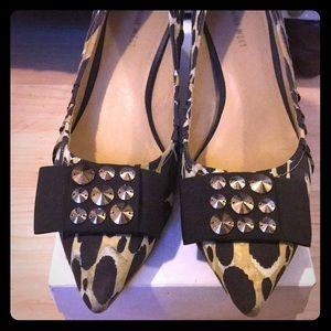 Nine West cheetah print kitten heel